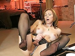Transsexual MILF masturbating