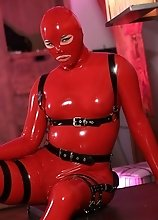 Bianka in red hot latex cat suit all kinky and horny and all ready to fuck some dicks dry
