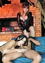 Two hot shemales having fun with their toyboy